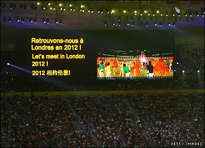 The screen in the Bird's Nest looks ahead to the London Olympics in 2012