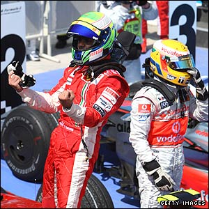 Felipe Massa and Lewis Hamilton immediately after the European Grand Prix