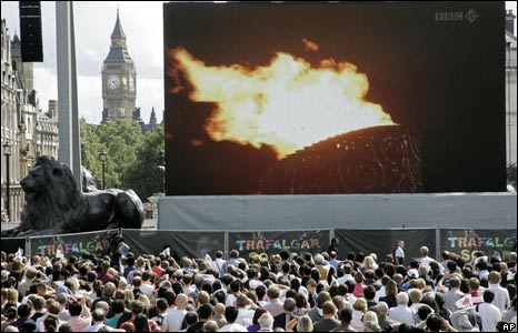 Big screen in Trafalgar Square