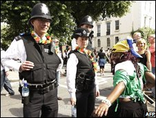 Police officers in the carnival