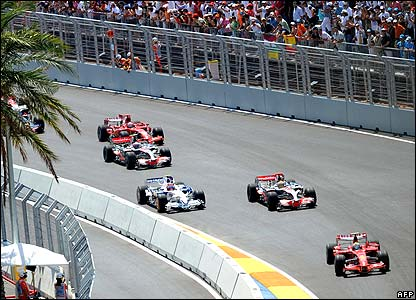 Felipe Massa leads the field at the first corner of the European Grand Prix