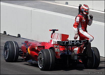 Kmi Raikkonen climbs out of his Ferrari after it suffers engine failure during the European Grand Prix
