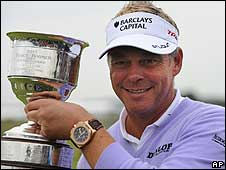 Darren Clarke poses with the KLM Open trophy