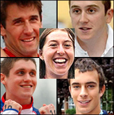 Clockwise from top left: Tom James, Geraint Thomas, Tom Lucy, Davies; Nicole Cooke