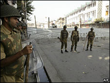 Curfew in Srinagar, August 25 2008