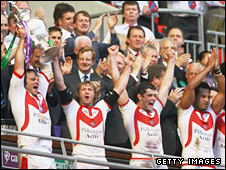 St Helens celebrate their victory over Catalans Dragons last year