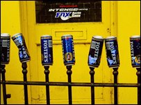 Beer cans left on railings during carnival