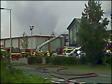 The fire at Quedgley Business Park