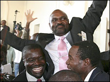 The new Speaker of Parliament Lovemore Moyo being carried by his supporters