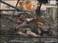 Раненная женщина в Гори