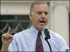 Howard Dean speaking during a voter registration event in North Carolina in July