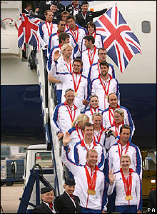 GB's gold medalists leave the plane