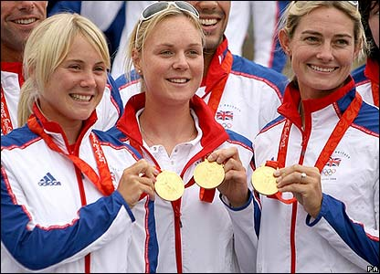 Sarah Ayton, Pippa Wilson and Sarah Webb show off their medals