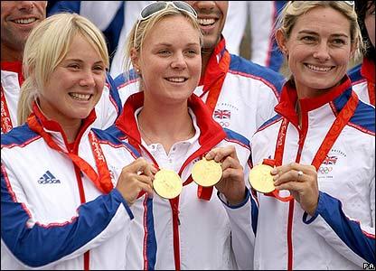 Sarah Ayton, Pippa Wilson and Sarah Webb show off their medals
