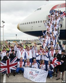 Team GB returns to Heathrow airport