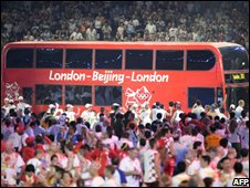 London bus at Beijing closing ceremony