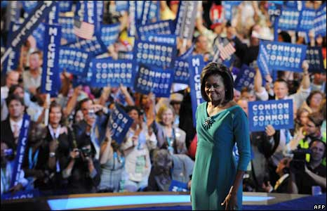 Michelle Obama addresses the Democratic Party's convention