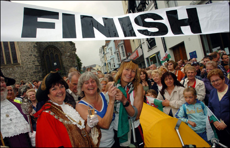 Rosie was welcomed across the finishing line at Tenby