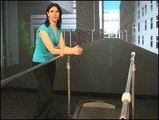 Wendy Powell with her stroke virtual reality machine