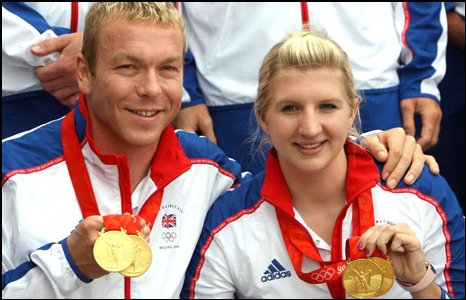 Chris Hoy and Rebecca Adlington and their gold medals
