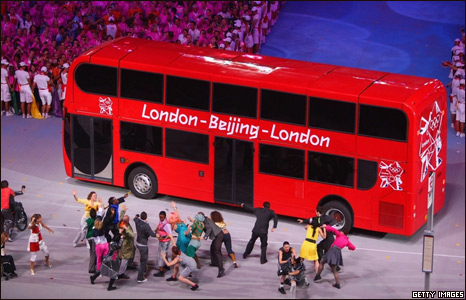 A London Double Decker bus is seen during the Closing Ceremony for the Beijing 2008 Olympic Games