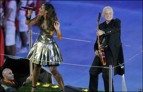 Led Zeppelin guitarist Jimmy Page and singer Leona Lewis perform during the Closing Ceremony for the Beijing 2008 Olympic Games
