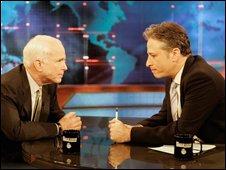 Republican presidential candidate Senator John McCain (l) and Jon Stewart