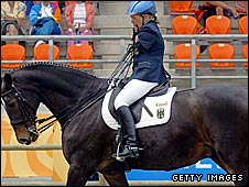 Germany's Bianca Vogel riding Roquefort 16 in the dressage at the 2004 Paralympics