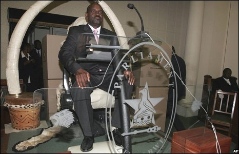 Lovemore Moyo, Zimbabwe parliament's new speaker, sits on the speaker's chair in Harare, 25 August 2008