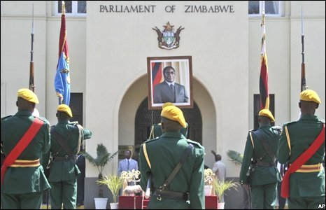 A guard of honour during parliament's opening ceremony in Harare, Zimbabwe, 26 August 2008
