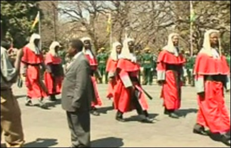Screen grab of judges at the opening ceremony, Harare, 26 August 2008