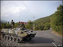 Tanque ruso en la frontera entre Georgia y Osetia del Sur, 26 agosto 2008