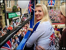 Rebecca Adlington on the bus