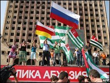 Sukhumi residents celebrate Moscow's recognition of Adkhazia's independence, 26 August, 2008