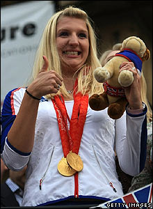 Rebecca Adlington gives the crowd the thumbs up.