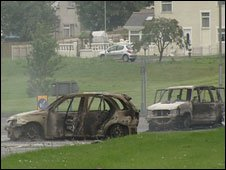 Cars burnt out