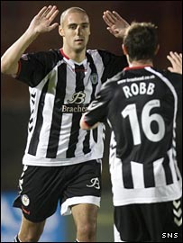 Stephen Robb congratulates team-mate Billy Mehmet on his hat-trick