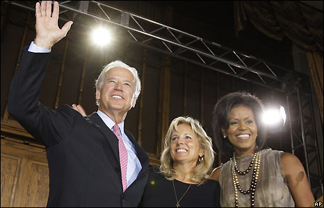 Michelle Obama (R) and her husband's running mate Senator Joe Biden and his wife Jill on day two of the Democratic National Convention, 26 August 2008