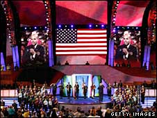 Members of the American GI Forum present the colours during day two of the Democratic Convention, 26 Aug 2008