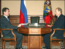 Russian President Dmitry Medvedev (L) and Premier Vladimir Putin in Russian Black Sea resort of Sochi on 26 August 2008