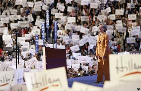 Hillary Clinton on stage at the Democratic convention, 26 Aug 2008