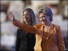 Hillary Clinton (right) and daughter Chelsea on stage at the Democratic convention, 26 Aug
