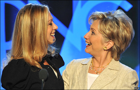 Hillary Clinton with her daughter Chelsea at the Democratic convention in Denver, Colorado