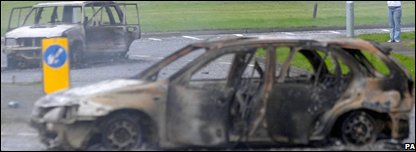 Burned-out cars