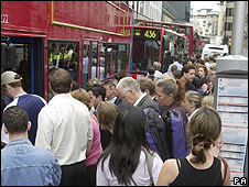 London bus queue (file pic)