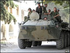 South Ossetian militia in an armoured vehicle