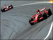 Felipe Massa's Ferrari leads Lewis Hamilton's McLaren during the European Grand Prix