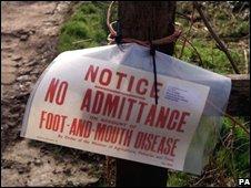 Foot and mouth warning sign (Image: PA)