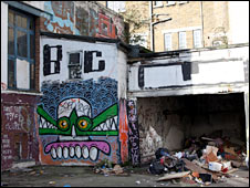 Graffiti on a dilapidated house in London