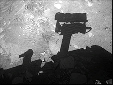 Opportunity's shadow on the floor of Victoria Crater (Nasa/Cornell/JPL)